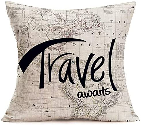 Fukeen Travel Awaits Throw Pillow Cover World Map with Quote Letters Inspirational Pillow Covers product image