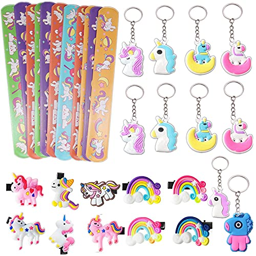MKISHINE - Set di 30 unicorni per regali per ospiti, braccialetti con ciondolo + portachiavi + pinza per capelli, regalo per compleanno, regalo di festa, pinata per bambini, regalo di compleanno