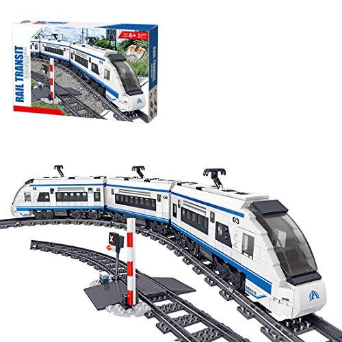 Oeasy - Set treno ad alta velocità con binario, 941 pezzi telecomando City Train con motore, blocchi da costruzione compatibili con altre marche