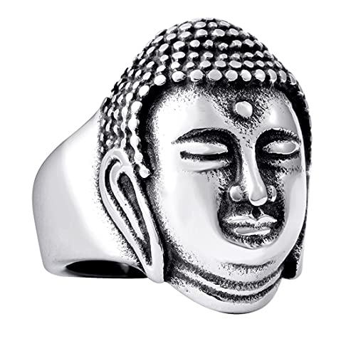 HIJONES Herren Chinesisch Religiös Shakyamuni Statue Buddha Gesicht Kopf Ring aus Edelstahl Silber Größe 65