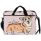 Dragon Sword Laptop Messenger Shoulder Bag Dog with A Pink Unicorn Horn Notebook Sleeve Carrying Briefcase Handbag