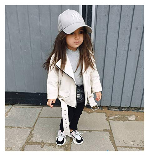 aiyu Chaqueta de piel sintética para niños y niñas, color blanco 2020, primavera, chaqueta de piel en niños y niñas, abrigos para moto, abrigos (color: blanco, talla infantil: 6T)