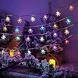 40 LEDs 6m Weihnachten Schneeflocke Lichterketten,Lichterketten Nacht Weihnachten Sternenvorhang,LED Lichterketten Batterie Betrieben,Außen...