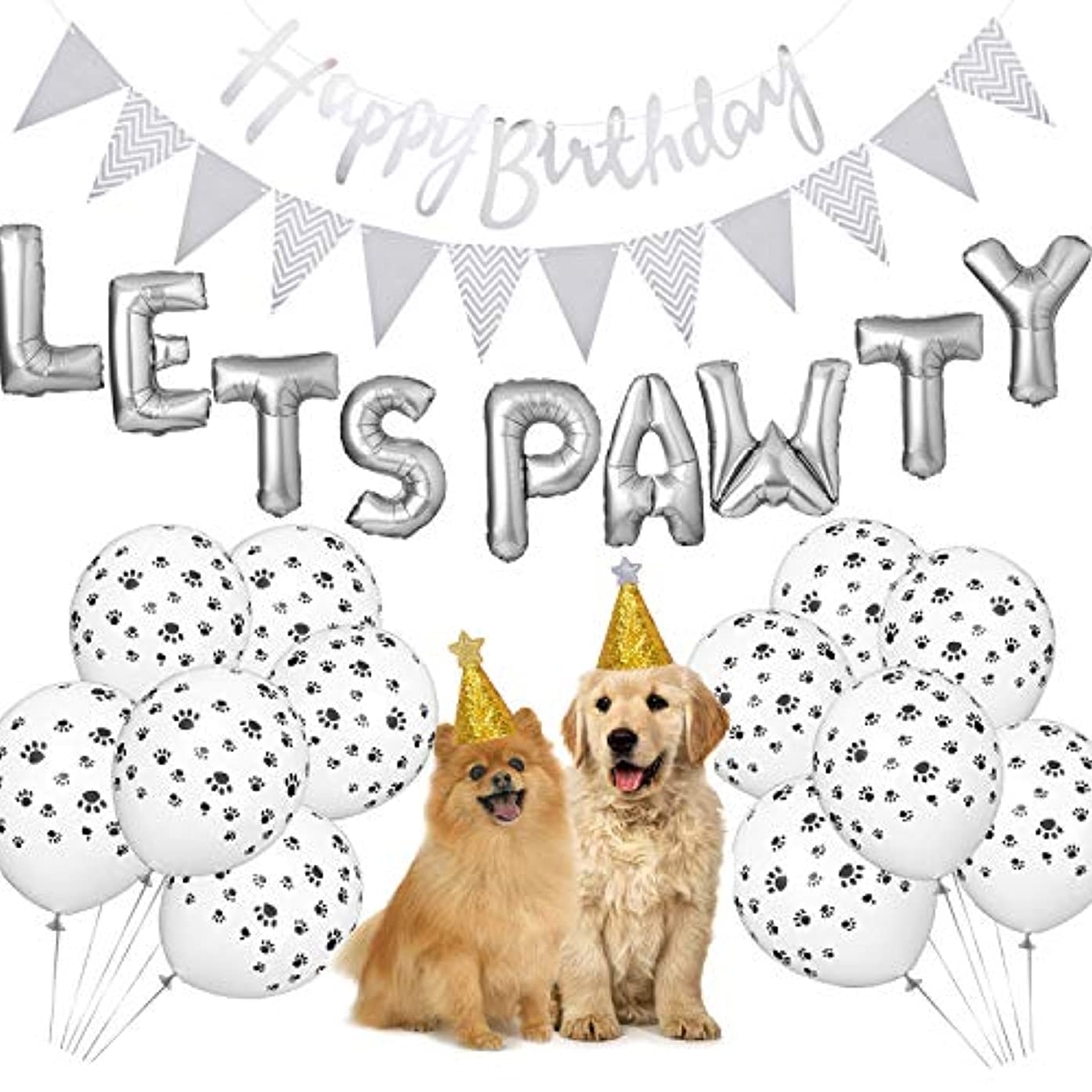 Dog Birthday Party Supplies, Lets Pawty Balloons Banner,Paw Print Balloons, Pet Birthday Hat Happy Birthday Banner Foil Balloons