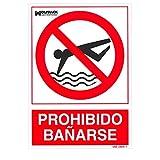 WOLFPACK LINEA PROFESIONAL 15050950 Cartel Prohibido Bañarse 30x21 cm, Neutro