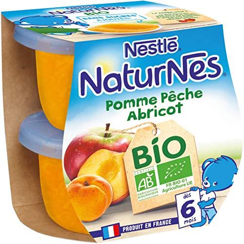 NESTLE NATURNES BIO Compotes Bébé Pomme Pêche Abricot - Dès 6 mois - 2x115g - Pack de 12 (24 Compotes)