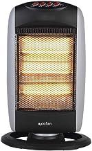 Estufa Halógena Oscilante que proporciona calor instantáneo de forma uniforme. Calefactor eléctrico con tres potencias 400W/800W/1200W. Sistema seguridad