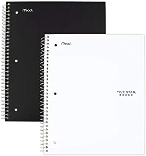 """Five Star Spiral Notebooks, 1 Subject, College Ruled Paper, 100 Sheets, 11"""" x 8-1/2"""", Black, White, 2 Pack (38454)"""