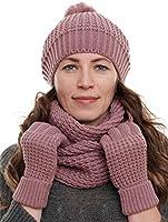 Hilltop Ensemble d'hiver femme 3 pièces Echarpe tube, bonnet tricoté, gants ou mitaines assortis - 100% acrylique -...