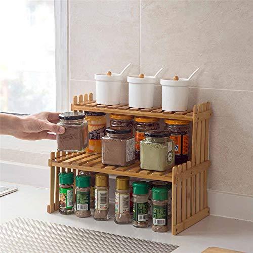 GJDBBLY Opbergrek met 2 lagen, bamboe, opslag van keuken, kruidenglas, fles, kruiden, decoratie, organizer, rek voor thuis