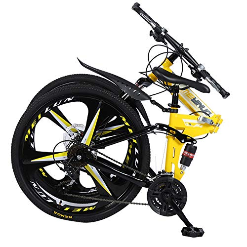 Mountain Bike,26 Inch Spoke Wheel Dual Suspension Folding Road Bike for Adult, Steel Bike with Dual Disc Brake and 21-Speed Shifting System