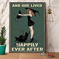 2個 ポジーノ 黒猫と魔女と彼女は幸せに暮らしています かわいいメタルサイン ガレージ ストリート カフェ バー クラブ キッチン 壁の装飾 カントリー ファーム バスルーム レトロ 楽しい メタル ティンサイン 12x8インチ 最高のギフト