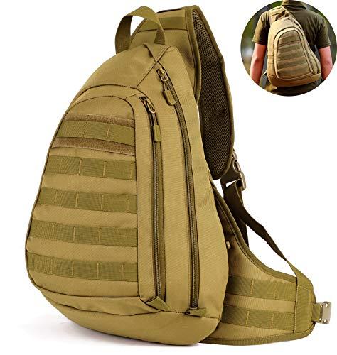 Selighting Militär Brusttasche Crossbody Bag Wasserdicht Umhängetasche Molle Slingbag Taktisch Dreieck Pack für Trekking Wandern Camping (Braun)
