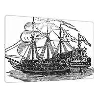 超大型マウスパッド ゲーミング、19世紀半ばの百科事典からデジタル復元されたガレオン船のビクトリア朝の彫刻、かわいい防水 滑り止めベース、ステッチエッジ、コンピューターとデスク用の超滑な表面