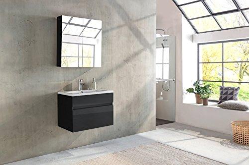SAM® Badmöbel-Set 2-TLG, Parma, Hochglanz schwarz, Softclose Badezimmermöbel, Waschplatz 80 cm Mineralgussbecken, Spiegelschrank
