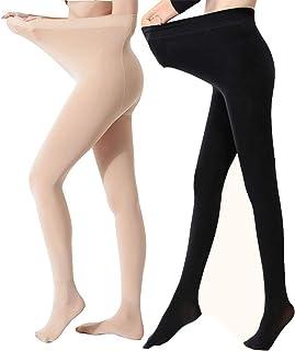 Yulaixuan mujeres 2 pares de pantimedias de talla grande 120 Denier medias opacas reforzadas pantalones gruesos con patas polainas de invierno