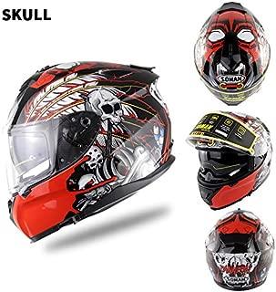 EDTara Motorcycle Racing Helmet Men and Women Motorcycle Helmet Double Lenses Compatiable with Glasses Safe ECE Standard Helmet Motorcycle Accessaries Demon XXL
