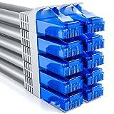deleyCON 10x 0,25m CAT6 Cable de Red U-UTP RJ45 Cat-6 Cable LAN Cable de Parche Cobre para Switch Router Módem Repetidor Patch Panel - Gris