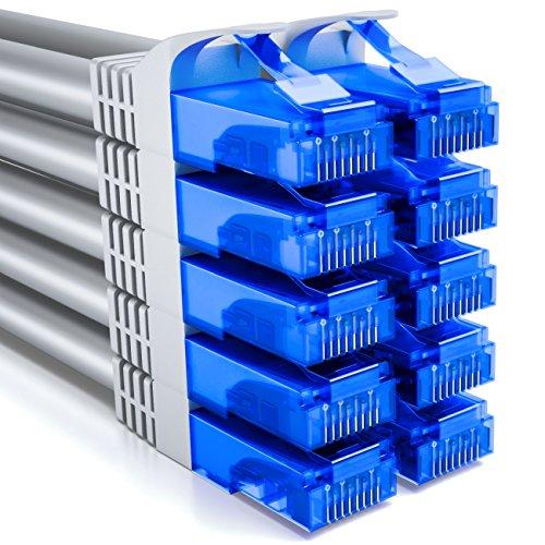 deleyCON 10x 2m CAT6 Cable de Red U-UTP RJ45 Cat-6 Cable LAN Cable de Parche Cobre para Switch Router Módem Repetidor Patch Panel - Gris