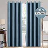MIULEE Linen Texture Curtains for Bedroom Solid 100% Blackout Thermal Insulated Dusty Blue Curtains Grommet Room Darkening Curtains/Draperies Luxury Decor for Living Room Nursery 52x90 Inch (2 Panels)