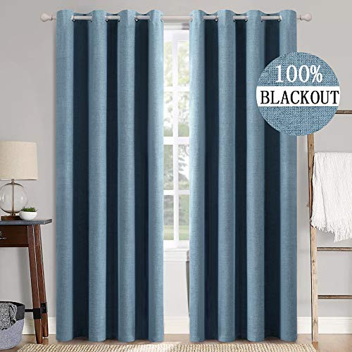 MIULEE 90 Inches Linen Texture Curtains for Bedroom 100% Blackout Thermal Insulated Dusty Blue Curtains Grommet Room Darkening Draperies Luxury Decor for Living Room Nursery 52x90 Inch (2 Panels)