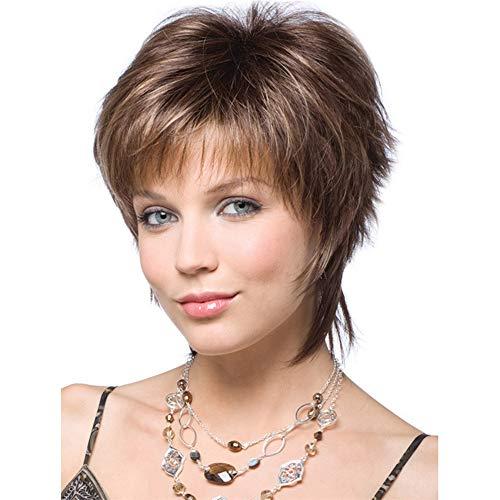 Perruque courte et raide pour femme style bobo bouclées ondulées tendance pour femme Blond synthétique résistant à la chaleur