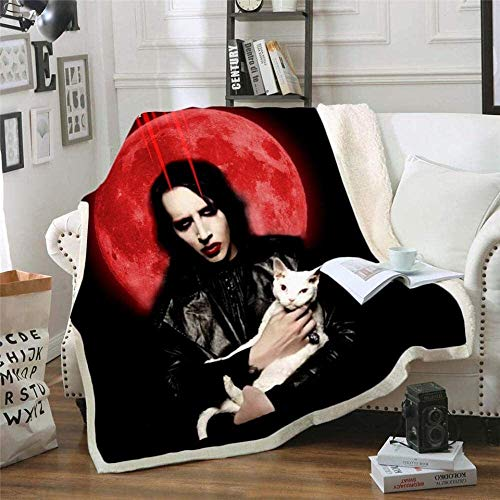 WLYX Manta for bebé Cantante Marilyn Manson (Marilyn Manson) Aire Acondicionado Manta Niño Oficina Sherpa Moda edredón Niños (Color : Xj07235, Size : 130x150cm)