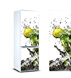 Pegatinas Vinilo para Frigorífico Rodaja de limón en Copa | 200x70cm | Adhesivo Resistente y de Facil Aplicación | Pegatina Adhesiva Decorativa de Diseño Elegante