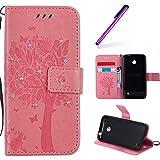 EMAXELERS Nokia Lumia 630 Hülle PU Lederhülle Bookstyle Handyhülle Flip Glitzer Asche Brieftasche Bumper mit Kartenfächer Wallet Tasche Etui für Nokia Lumia 630/635,Diamond Pink Wishing Tree