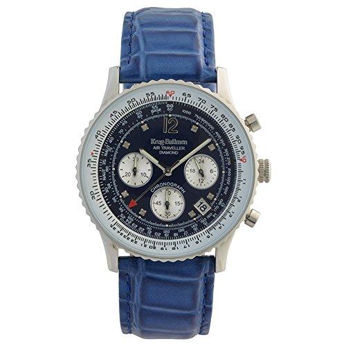 Krug-Baumen 400507DS Air Reisenden Diamant blaues Zifferblatt blau Gurt