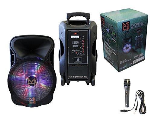 Mr. Dj DJ15BTA 15-Inch 3000 Watt Max Power Speaker with Built-in Bluetooth & Battery LCD/MP3/USB/MICRO SD