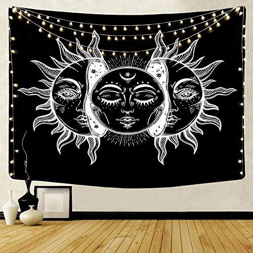WERT Tapiz de Pared Tapiz Colgante de Bosque decoración Toalla para Colgar en el hogar Alfombra de Sol y Luna Cubierta de Cama Estera de Yoga A10 95x73cm