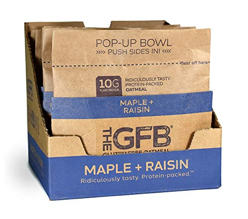 The GFB Protein Oatmeal Cup (Pop-up), Maple Raisin, 2 Ounce (Pack of 6), Gluten Free, Non GMO