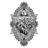 YLGG Pegatinas de Tatuaje Temporal de Moda Moon Mountain, adecuadas para Hombres y Mujeres, Impermeables, extraíbles