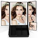 Abody Espejos de Maquillaje,Espejos LED con 7X Aumento con Organizador,Espejo Cosmético Luminoso,Espejos Plegables,Perfecto Regalo Set brochas
