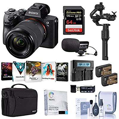 Sony Alpha a7 III Mirrorless Digital Camera with 28-70mm Lens Gimbal Bundle with DJI Ronin-S Essentials Kit, Bag, 64GB SD Card, 2 Batteries, Charger, Mic, and Accessories by Sony