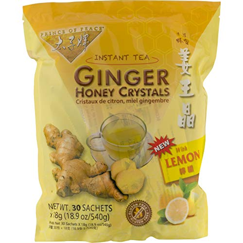 Prince of Peace Instant Lemon Ginger Honey Crystals (30 Sachets) Pack...