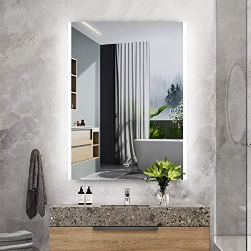 S'bagno Espejo de baño LED Iluminado de 600 x 800 mm, con Audio Bluetooth Incorporado, Almohadilla de desecho e Interruptor de Sensor táctil