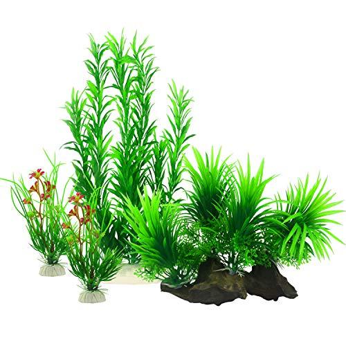 MyLifeUNIT Plantas acuáticas artificiales para decoración de acuario (paquete de 4)