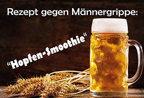 Recept tegen mannengribben Hopfen Smoothie Bier Beer metalen bord bord gebogen metalen plaat Metal Tin Sign 20 x 30 cm