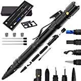 Moikin 10 in 1 Tactical Pen for Self Defense Survival Multitool, LED Flashlight, Ballpoint, Screw Driver, Bottle Opener, Glass Breaker with a Multi Tool Card EDC for Men