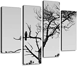 Jackdaw in dead tree Canvas Print Artwork Wall Art Pictures Framed Digital Print Abstract Painting Room Home Office Decor Ready to Hang 4 Panel