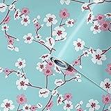 Venilia 54923 - Lámina adhesiva para muebles, diseño de flores de cerezo, papel pintado, lámina autoadhesiva, PVC, sin ftalatos, flores, 45 cm x 2 m, grosor 95µ (0,095 mm)