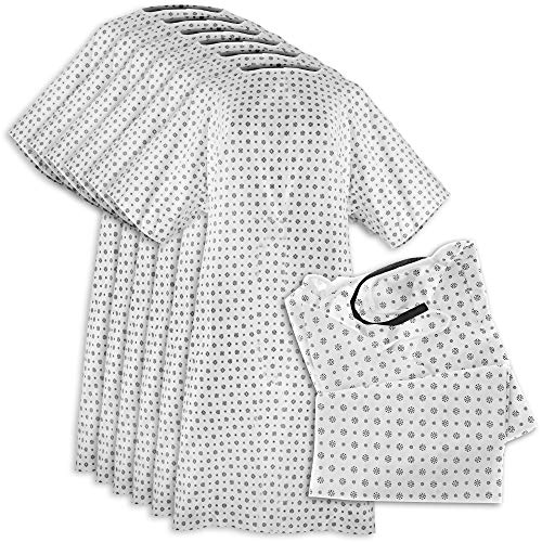 Hospital Gown (6 Pack) Cotton Blend , Useful, Fashionable Patient Gowns, Back Tie, 46