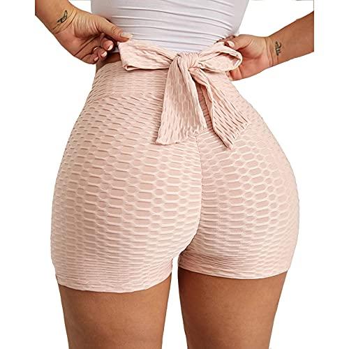 ZDJH Pantalones cortos de yoga para mujer, de cintura alta, con pajarita, elásticos, de deporte, de cintura alta, con control de abdomen, pantalones cortos de fitness, Rosa., L