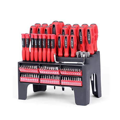 100 destornilladores magnéticos y puntas con estante organizador, puntas magnéticas, kit de precisión que incluye destornilladores, puntas, herramienta de reparación profesional para herramientas de