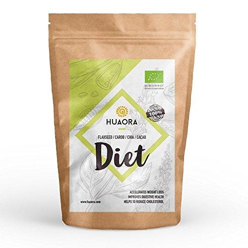 Huaora Diet - Lin en poudre, caroube, cacao, chia, sucre de noix de coco - Perte de poids | Sans gluten, sans soja et sans lactose - 100% organique | Adapté aux végétaliens (150 gr)