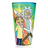 Rick and Morty Tie-Dye Pint Glass [MULTI-COLOR 16oz] RICK SANCHEZ and MORTY SMITH Anime Drinking/Beer/Juice/Party Glasses (OFFICIALLY LICENSED), By Just Funky