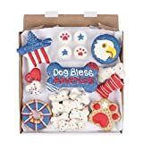 Wüfers Dog Bless America Dog Cookie Box   Handmade Hand-Decorated Dog Treats   Dog Gift Box Made with Locally Sourced Ingredients