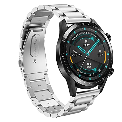 Hatolove Compatible con Huawei Watch GT2/GT2 Classic/GT2 Pro 46mm Correa, 22mm Acero Inoxidable Metal Pulsera para Gear S3 Frontier/Classic/Galaxy Watch 46mm/Huawei Watch GT 2e/GT Sport Active 46mm